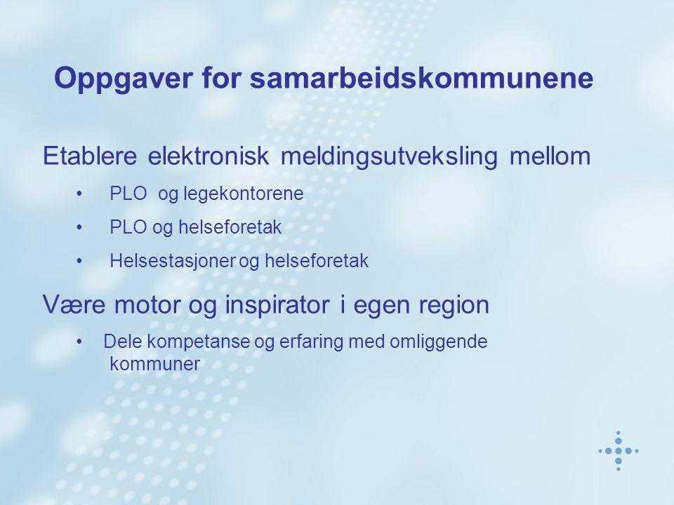 Oppgaver for samarbeidskommunene Etablere elektronisk meldingsutveksling mellom PLO og legekontorene PLO og helseforetak Helsestasjoner og helseforetak Være motor og inspirator i egen region Dele kompetanse og erfaring med omliggende kommuner