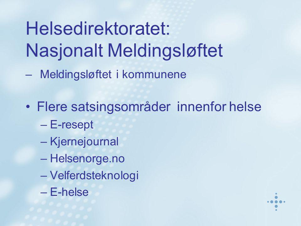 Helsedirektoratet: Nasjonalt Meldingsløftet – Meldingsløftet i kommunene Flere satsingsområder innenfor helse –E-resept –Kjernejournal –Helsenorge.no –Velferdsteknologi –E-helse
