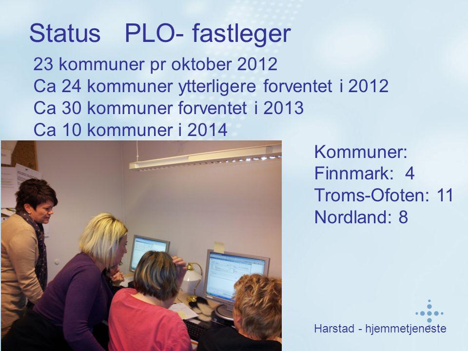Status PLO- fastleger 23 kommuner pr oktober 2012 Ca 24 kommuner ytterligere forventet i 2012 Ca 30 kommuner forventet i 2013 Ca 10 kommuner i 2014 Kommuner: Finnmark: 4 Troms-Ofoten: 11 Nordland: 8 Harstad - hjemmetjeneste