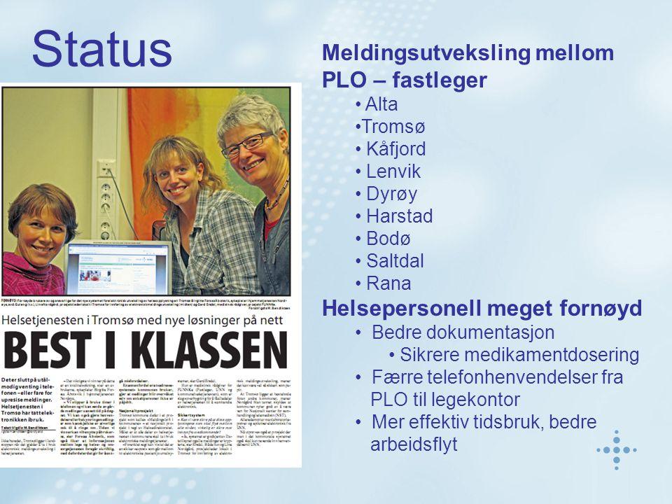 Meldingsutveksling mellom PLO – fastleger Alta Tromsø Kåfjord Lenvik Dyrøy Harstad Bodø Saltdal Rana Helsepersonell meget fornøyd Bedre dokumentasjon Sikrere medikamentdosering Færre telefonhenvendelser fra PLO til legekontor Mer effektiv tidsbruk, bedre arbeidsflyt Status