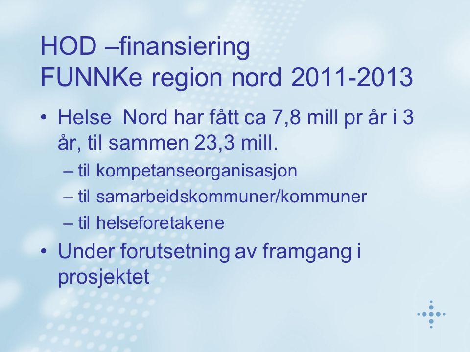 HOD –finansiering FUNNKe region nord 2011-2013 Helse Nord har fått ca 7,8 mill pr år i 3 år, til sammen 23,3 mill.