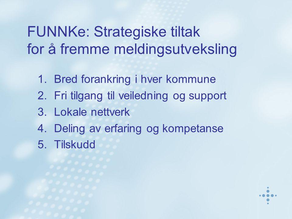 FUNNKe: Strategiske tiltak for å fremme meldingsutveksling 1.Bred forankring i hver kommune 2.Fri tilgang til veiledning og support 3.Lokale nettverk 4.Deling av erfaring og kompetanse 5.Tilskudd