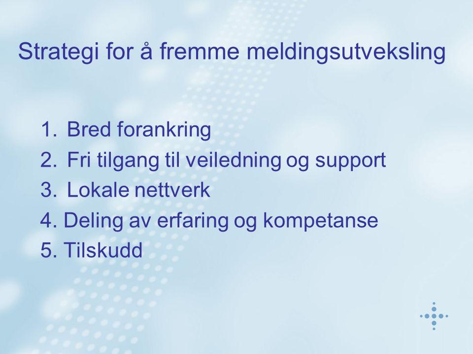 Strategi for å fremme meldingsutveksling 1.Bred forankring 2.Fri tilgang til veiledning og support 3.Lokale nettverk 4.