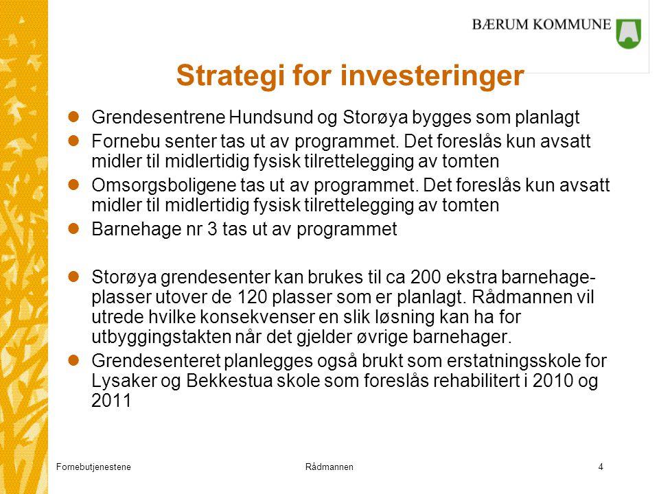 FornebutjenesteneRådmannen4 Strategi for investeringer lGrendesentrene Hundsund og Storøya bygges som planlagt lFornebu senter tas ut av programmet.