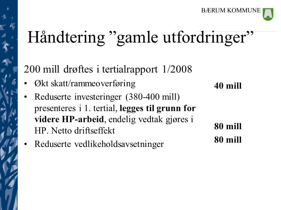Håndtering gamle utfordringer 200 mill drøftes i tertialrapport 1/2008 Økt skatt/rammeoverføring Reduserte investeringer (380-400 mill) presenteres i 1.