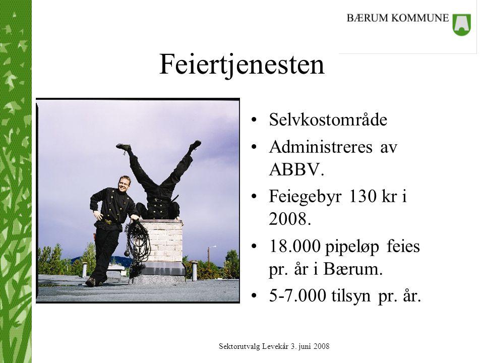 Sektorutvalg Levekår 3.juni 2008 Feiertjenesten Selvkostområde Administreres av ABBV.