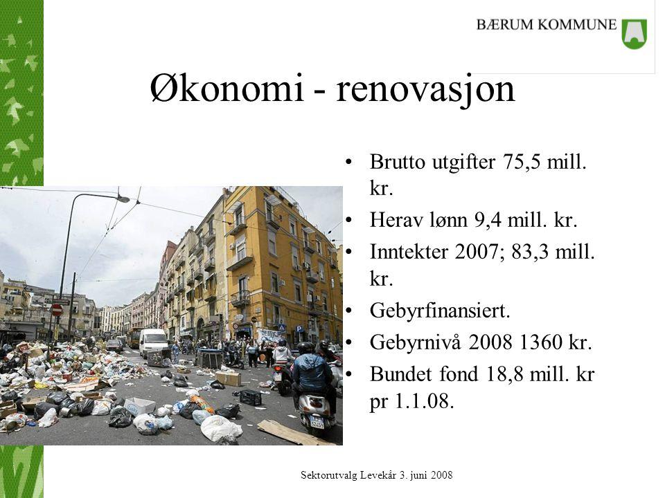 Økonomi - renovasjon Brutto utgifter 75,5 mill. kr.