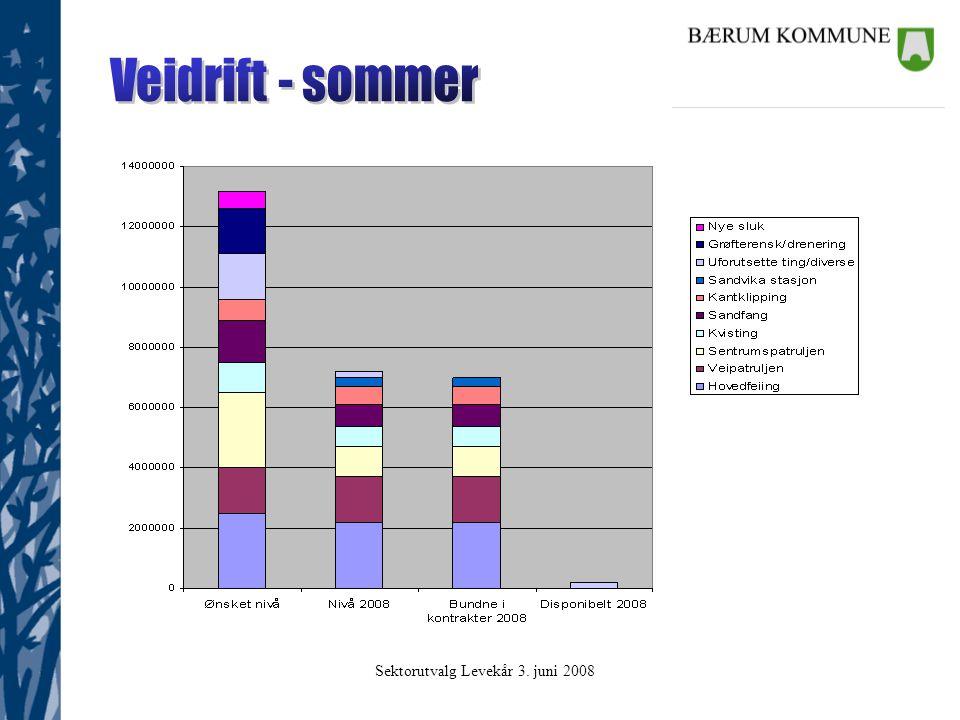 Sektorutvalg Levekår 3. juni 2008 Driften delt i to 1.Strøm og nettleie 2.Drift og vedlikehold Mørke lamper Mørke områder Kabelfeil Mastekontroll Kons
