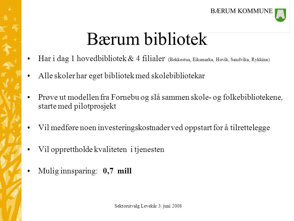 Sektorutvalg Levekår 3. juni 2008 Bærum bibliotek Har i dag 1 hovedbibliotek & 4 filialer (Bekkestua, Eiksmarka, Høvik, Sandvika, Rykkinn) Alle skoler
