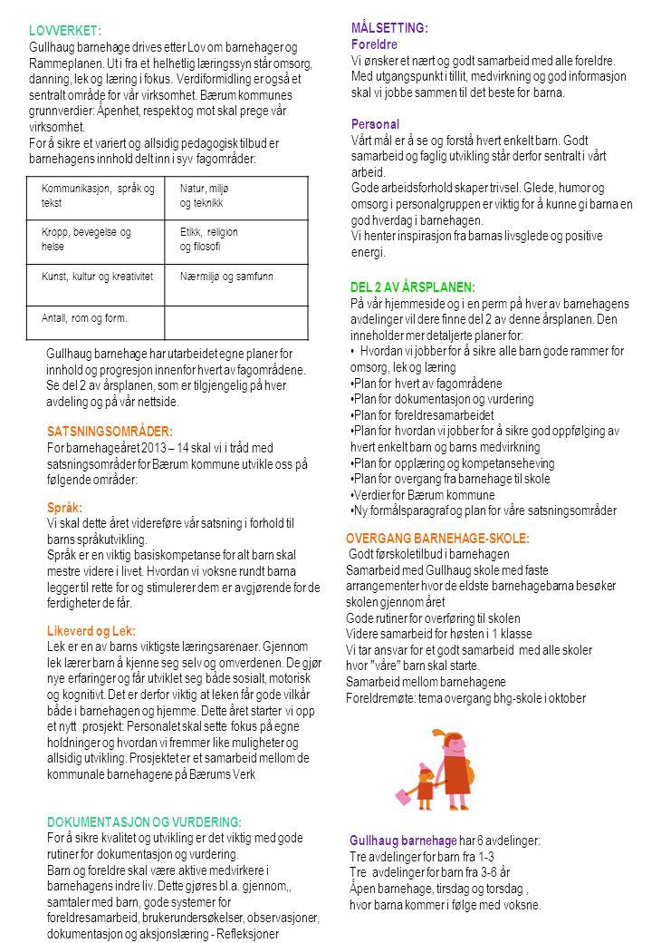 OVERGANG BARNEHAGE-SKOLE: Godt førskoletilbud i barnehagen Samarbeid med Gullhaug skole med faste arrangementer hvor de eldste barnehagebarna besøker skolen gjennom året Gode rutiner for overføring til skolen Videre samarbeid for høsten i 1 klasse Vi tar ansvar for et godt samarbeid med alle skoler hvor våre barn skal starte.