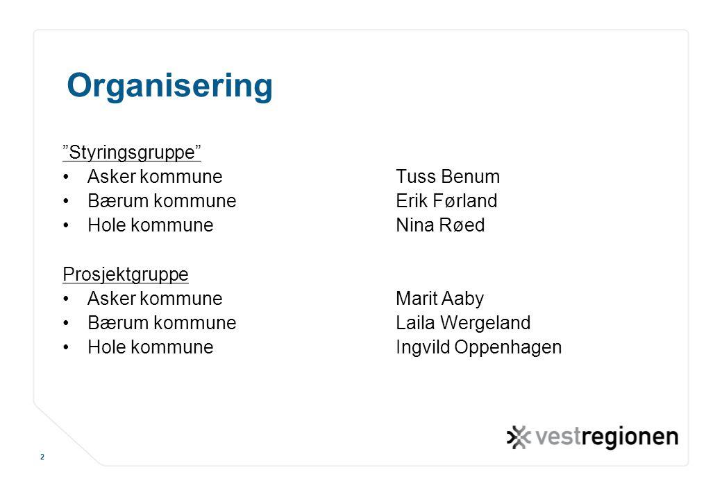 "www.osloregionen.no 2 Organisering ""Styringsgruppe"" Asker kommuneTuss Benum Bærum kommuneErik Førland Hole kommuneNina Røed Prosjektgruppe Asker kommu"