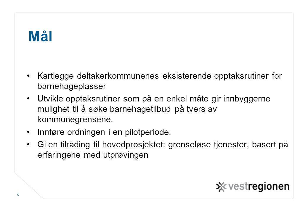 www.osloregionen.no 5 Mål Kartlegge deltakerkommunenes eksisterende opptaksrutiner for barnehageplasser Utvikle opptaksrutiner som på en enkel måte gi