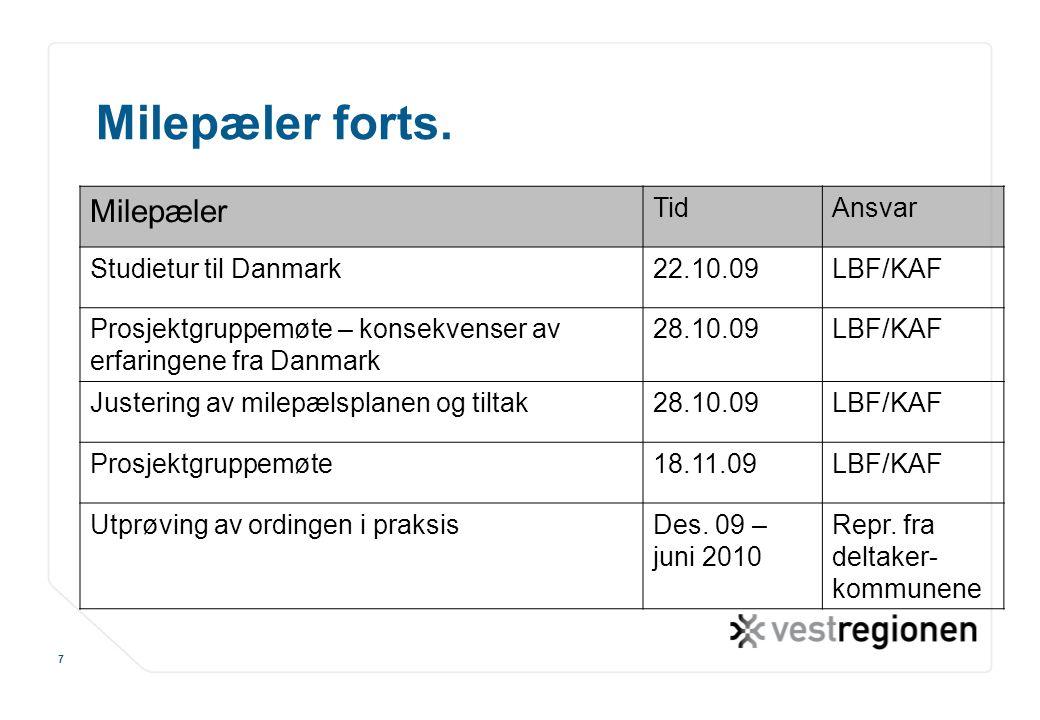 www.osloregionen.no 7 Milepæler forts. Milepæler TidAnsvar Studietur til Danmark22.10.09LBF/KAF Prosjektgruppemøte – konsekvenser av erfaringene fra D