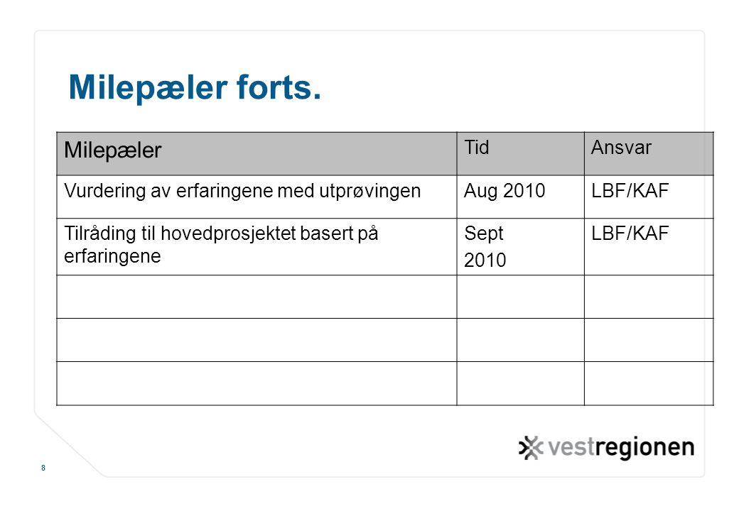 www.osloregionen.no 8 Milepæler forts. Milepæler TidAnsvar Vurdering av erfaringene med utprøvingenAug 2010LBF/KAF Tilråding til hovedprosjektet baser