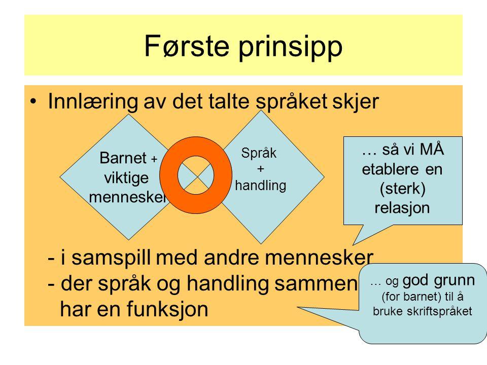 Første prinsipp Innlæring av det talte språket skjer - i samspill med andre mennesker - der språk og handling sammen har en funksjon Barnet + viktige