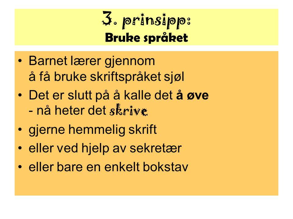 3. prinsipp: Bruke språket Barnet lærer gjennom å få bruke skriftspråket sjøl Det er slutt på å kalle det å øve - nå heter det skrive gjerne hemmelig