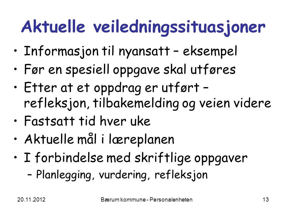 20.11.2012 Bærum kommune - Personalenheten 13 Aktuelle veiledningssituasjoner Informasjon til nyansatt – eksempel Før en spesiell oppgave skal utføres