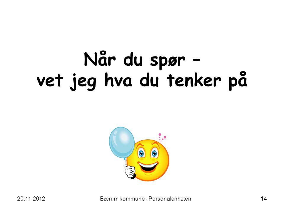 20.11.2012 Bærum kommune - Personalenheten 14 Når du spør – vet jeg hva du tenker på