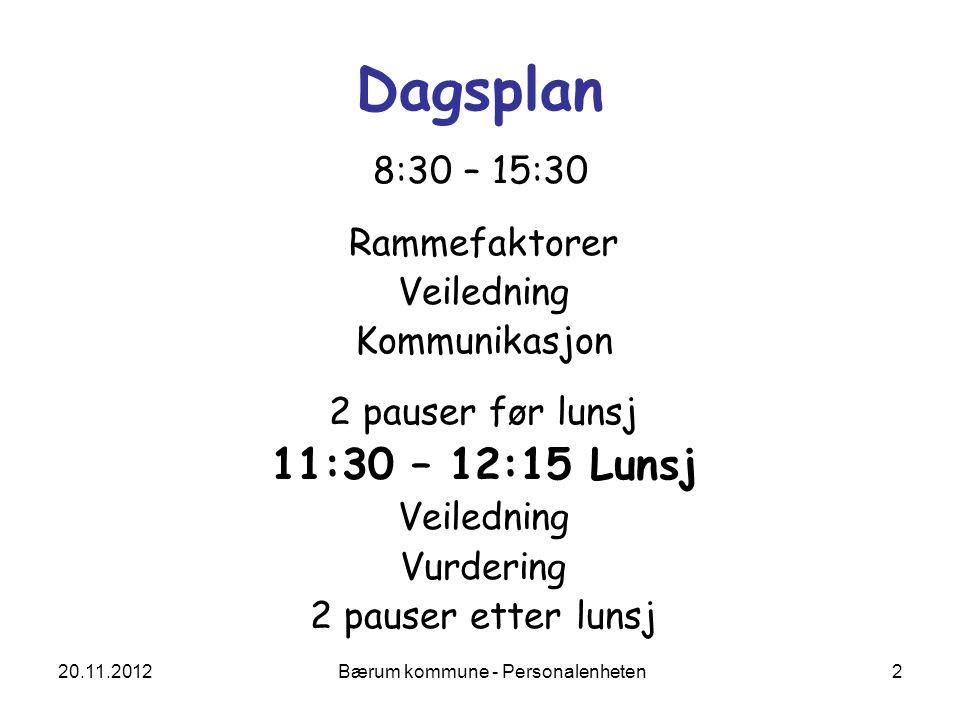 20.11.2012 Bærum kommune - Personalenheten 2 Dagsplan 8:30 – 15:30 Rammefaktorer Veiledning Kommunikasjon 2 pauser før lunsj 11:30 – 12:15 Lunsj Veile