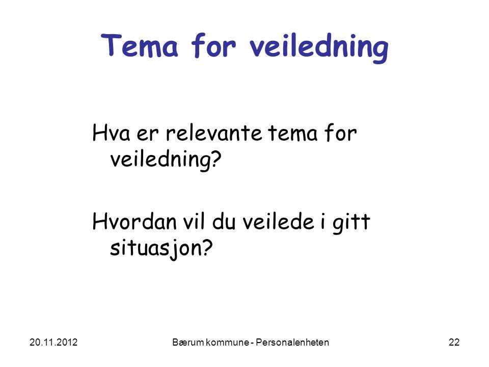 20.11.2012 Bærum kommune - Personalenheten 22 Tema for veiledning Hva er relevante tema for veiledning? Hvordan vil du veilede i gitt situasjon?
