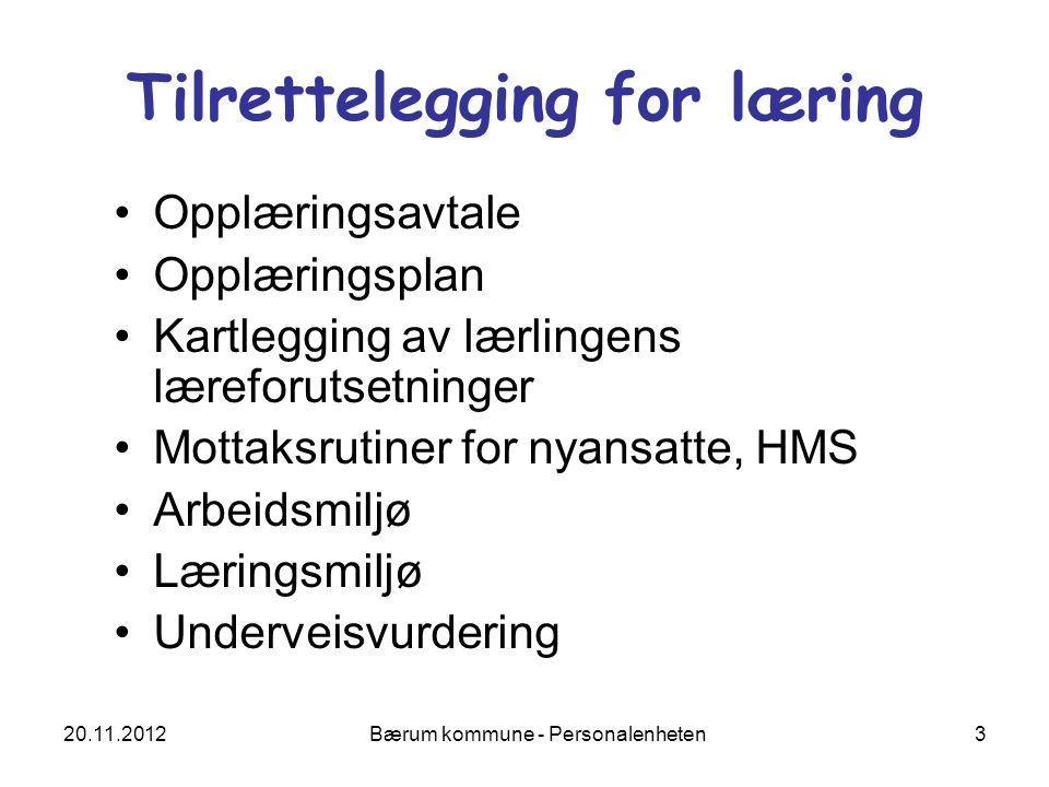 20.11.2012 Bærum kommune - Personalenheten 4 Opplæringsplan Har dere laget en plan for opplæringen hos dere.