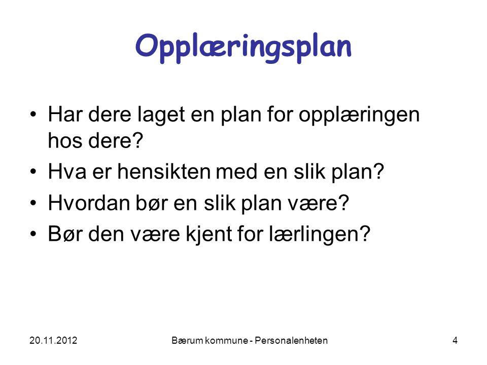 20.11.2012 Bærum kommune - Personalenheten 4 Opplæringsplan Har dere laget en plan for opplæringen hos dere? Hva er hensikten med en slik plan? Hvorda