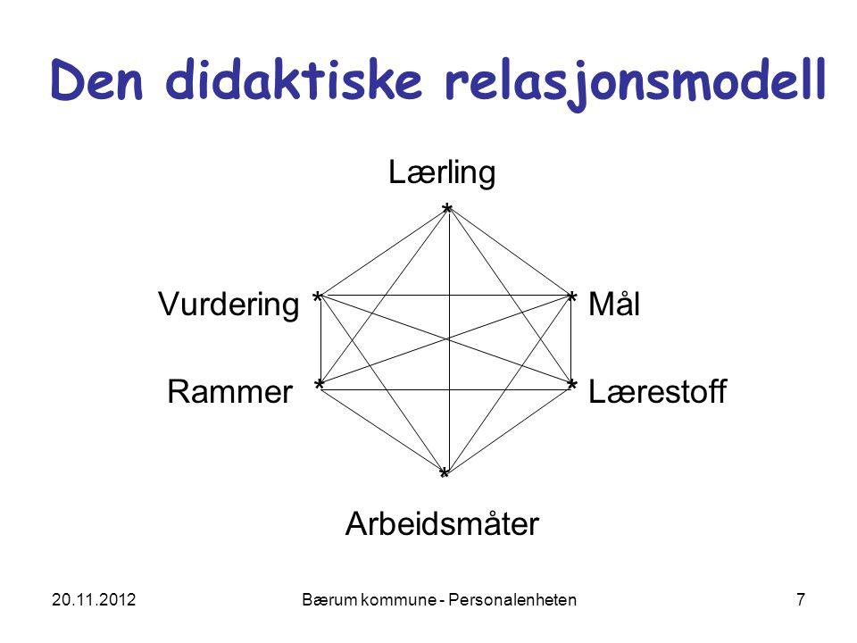 20.11.2012 Bærum kommune - Personalenheten 7 Den didaktiske relasjonsmodell Lærling * Vurdering ** Mål Rammer * * Lærestoff * Arbeidsmåter