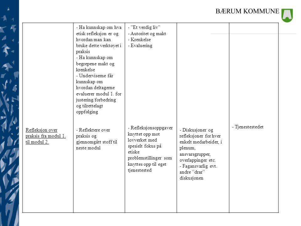 Refleksjon over praksis fra modul 1. til modul 2. - Ha kunnskap om hva etisk refleksjon er og hvordan man kan bruke dette verktøyet i praksis - Ha kun