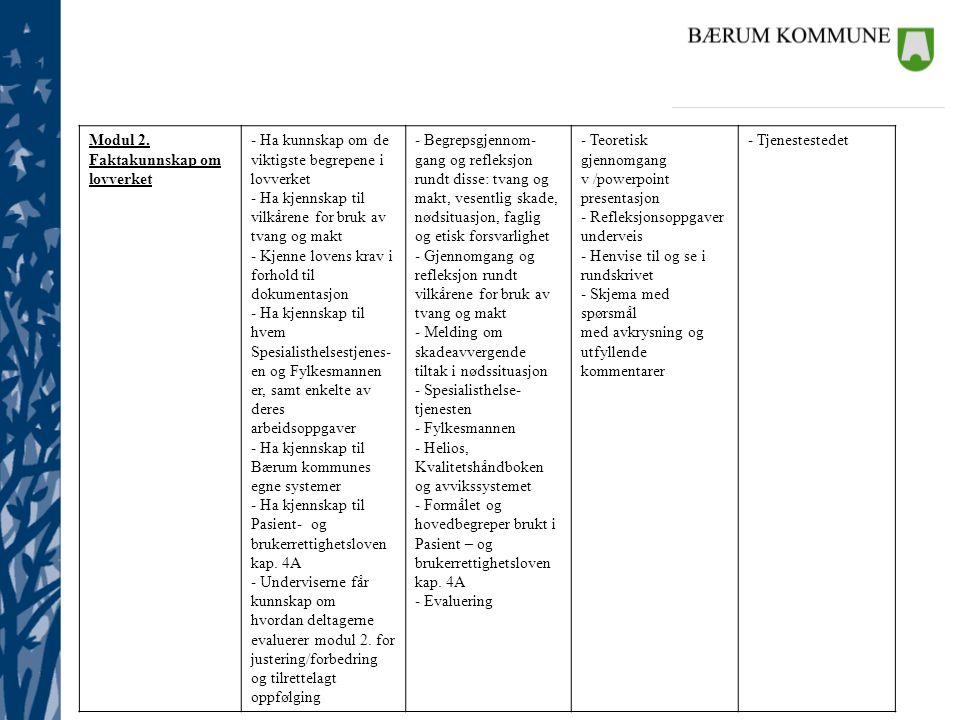 Modul 2. Faktakunnskap om lovverket - Ha kunnskap om de viktigste begrepene i lovverket - Ha kjennskap til vilkårene for bruk av tvang og makt - Kjenn