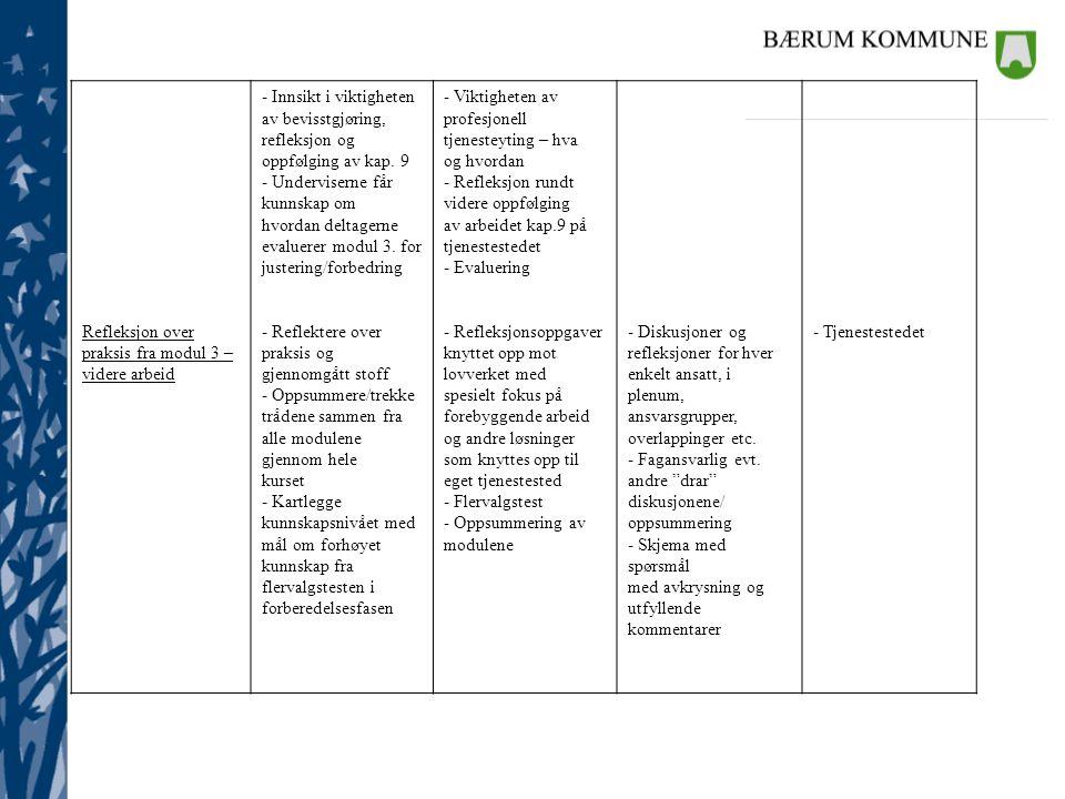 Refleksjon over praksis fra modul 3 – videre arbeid - Innsikt i viktigheten av bevisstgjøring, refleksjon og oppfølging av kap. 9 - Underviserne får k