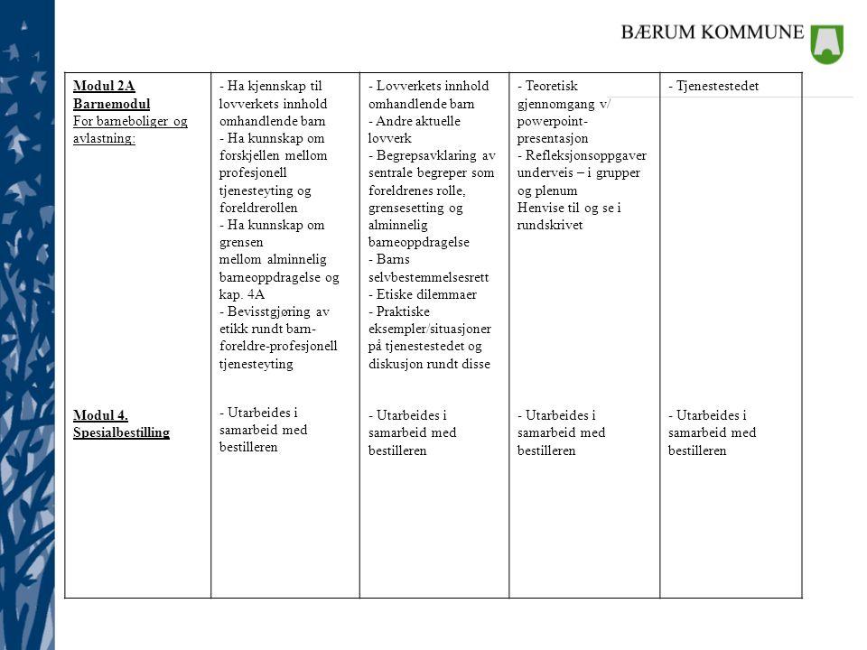 Modul 2A Barnemodul For barneboliger og avlastning: Modul 4. Spesialbestilling - Ha kjennskap til lovverkets innhold omhandlende barn - Ha kunnskap om