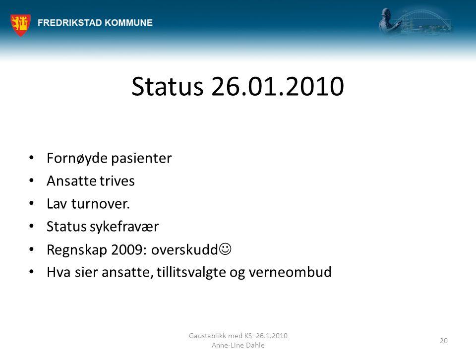 Status 26.01.2010 Fornøyde pasienter Ansatte trives Lav turnover.