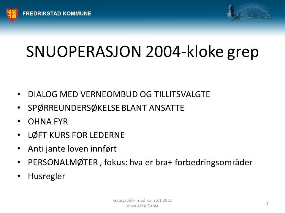 SNUOPERASJON 2004-kloke grep DIALOG MED VERNEOMBUD OG TILLITSVALGTE SPØRREUNDERSØKELSE BLANT ANSATTE OHNA FYR LØFT KURS FOR LEDERNE Anti jante loven i