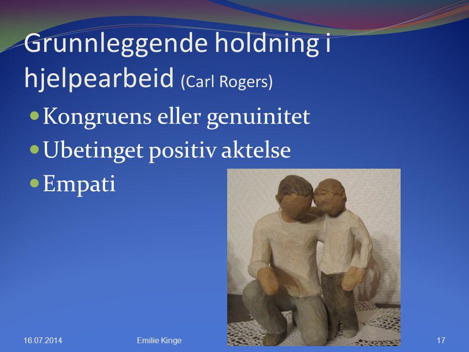 Grunnleggende holdning i hjelpearbeid (Carl Rogers) Kongruens eller genuinitet Ubetinget positiv aktelse Empati 16.07.2014Emilie Kinge17