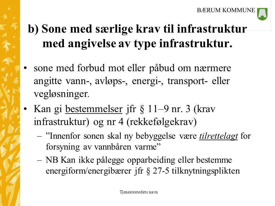 Tjenestestedets navn b) Sone med særlige krav til infrastruktur med angivelse av type infrastruktur.