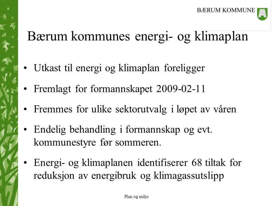 Plan og miljø Bærum kommunes energi- og klimaplan Utkast til energi og klimaplan foreligger Fremlagt for formannskapet 2009-02-11 Fremmes for ulike sektorutvalg i løpet av våren Endelig behandling i formannskap og evt.