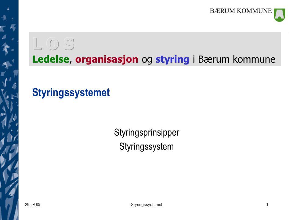 28.09.09Styringssystemet1 Styringsprinsipper Styringssystem