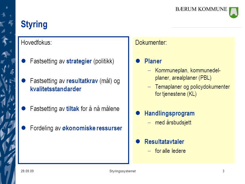 28.09.09Styringssystemet3 Styring Hovedfokus: lFastsetting av strategier (politikk) lFastsetting av resultatkrav (mål) og kvalitetsstandarder lFastset