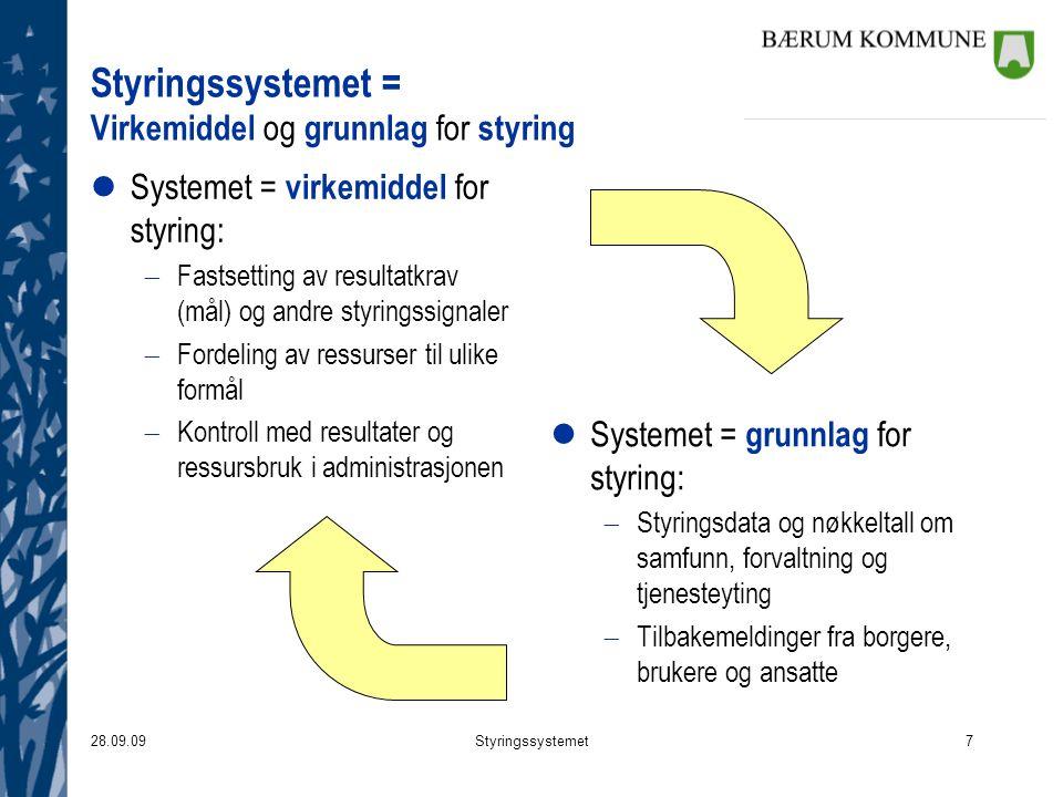 28.09.09Styringssystemet7 Styringssystemet = Virkemiddel og grunnlag for styring lSystemet = virkemiddel for styring:  Fastsetting av resultatkrav (m