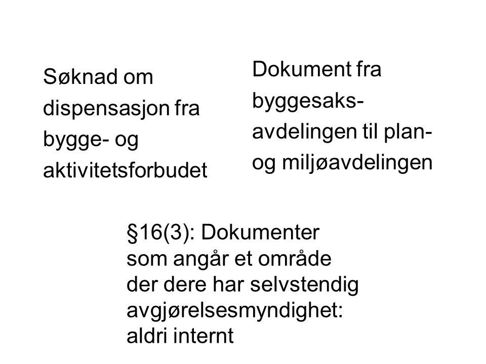 Søknad om dispensasjon fra bygge- og aktivitetsforbudet Dokument fra byggesaks- avdelingen til plan- og miljøavdelingen §16(3): Dokumenter som angår e
