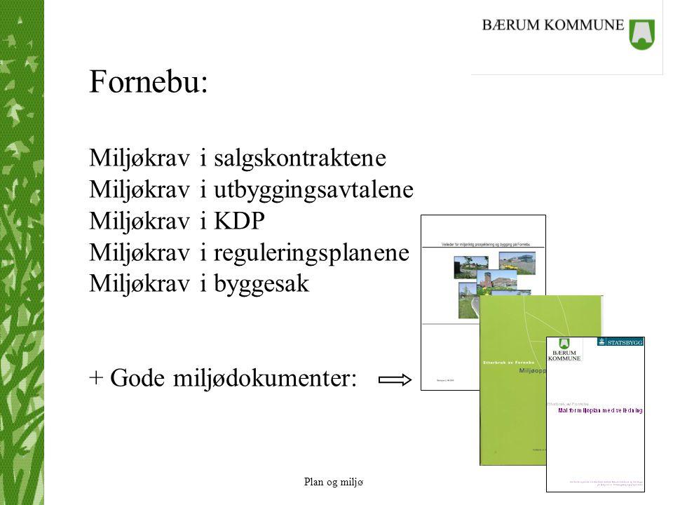 Plan og miljø Fornebu: Miljøkrav i salgskontraktene Miljøkrav i utbyggingsavtalene Miljøkrav i KDP Miljøkrav i reguleringsplanene Miljøkrav i byggesak
