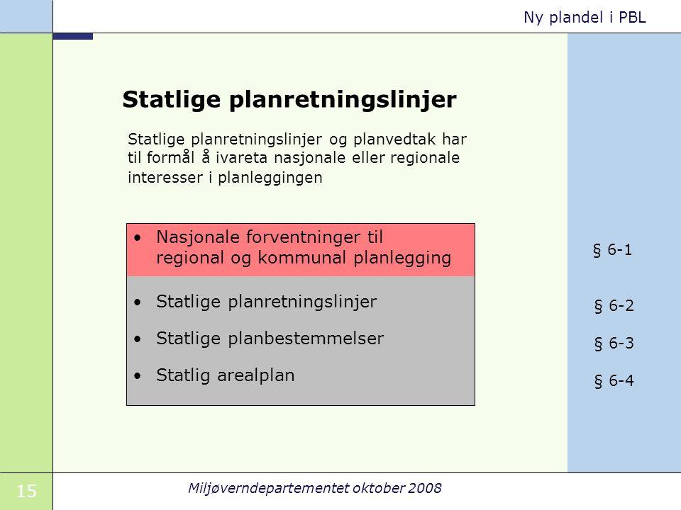 15 Miljøverndepartementet oktober 2008 Ny plandel i PBL Statlige planretningslinjer Statlige planbestemmelser Statlig arealplan Nasjonale forventninge