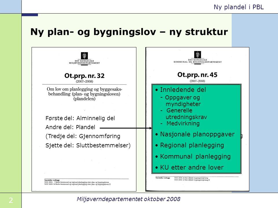 2 Miljøverndepartementet oktober 2008 Ny plandel i PBL Ny plan- og bygningslov – ny struktur Første del: Alminnelig del Andre del: Plandel (Tredje del