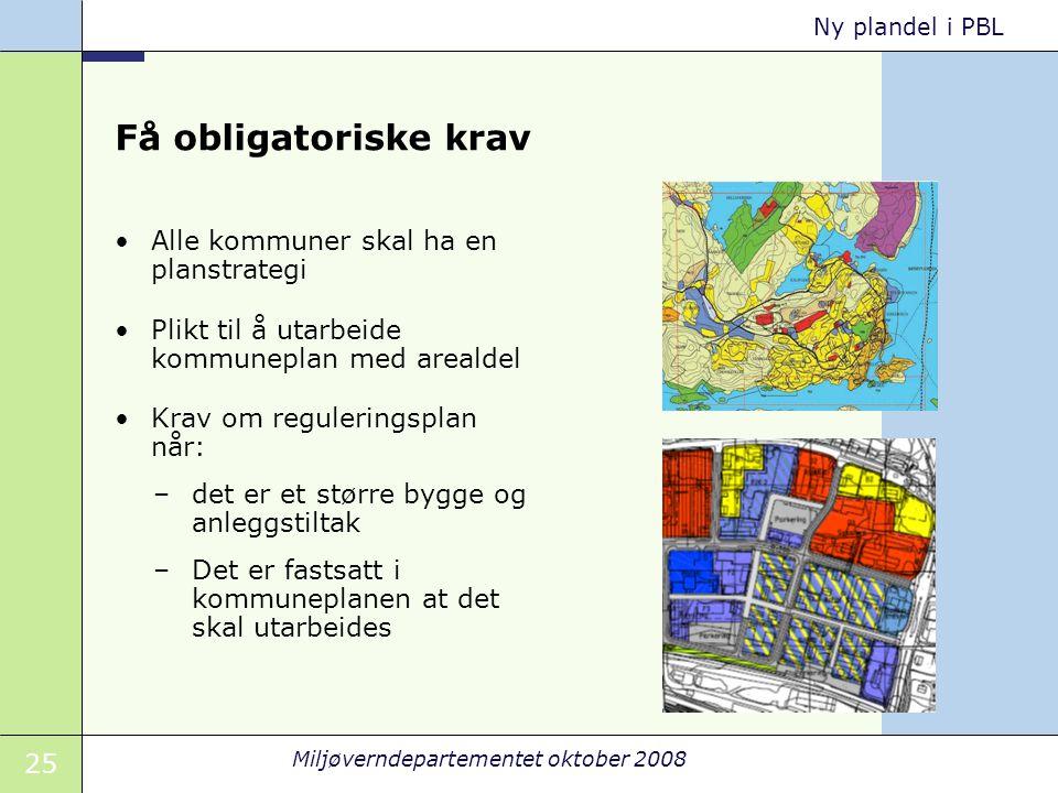 25 Miljøverndepartementet oktober 2008 Ny plandel i PBL Få obligatoriske krav Alle kommuner skal ha en planstrategi Plikt til å utarbeide kommuneplan