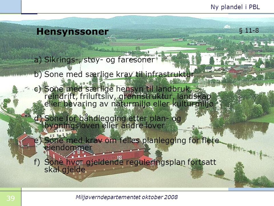 39 Miljøverndepartementet oktober 2008 Ny plandel i PBL Hensynssoner a)Sikrings-, støy- og faresoner b)Sone med særlige krav til infrastruktur c)Sone