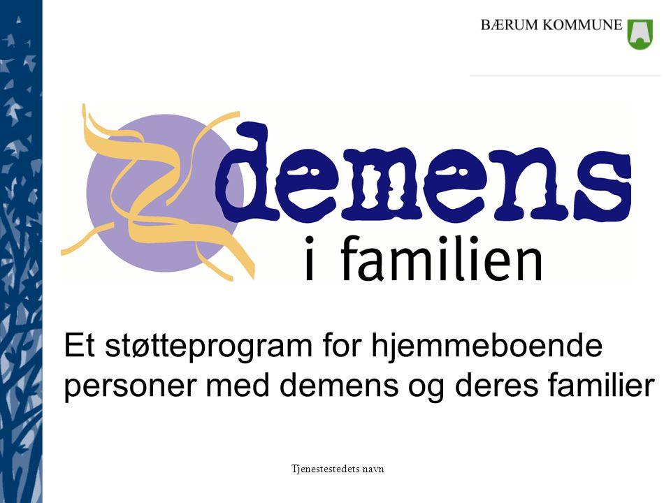 Tjenestestedets navn Et støtteprogram for hjemmeboende personer med demens og deres familier