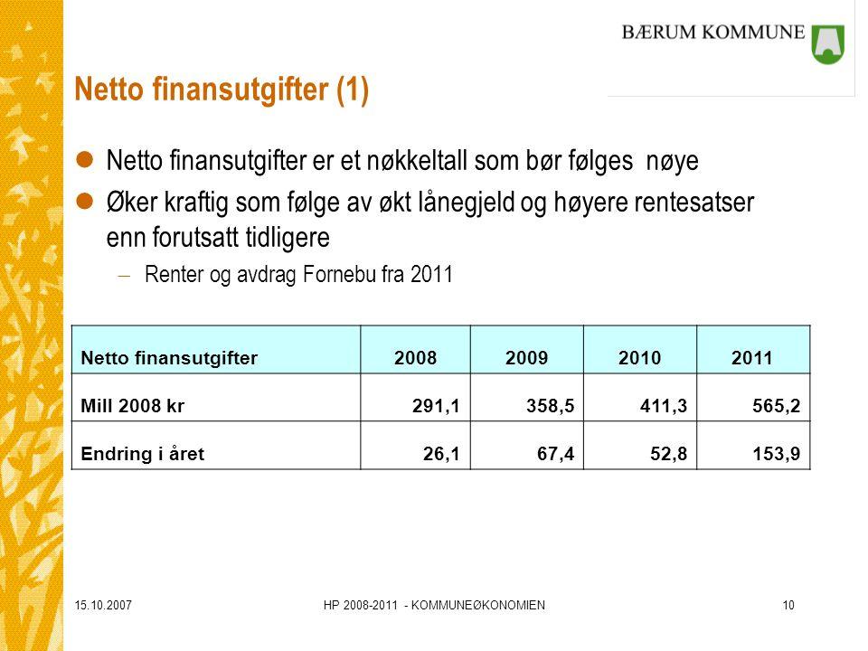15.10.2007HP 2008-2011 - KOMMUNEØKONOMIEN10 Netto finansutgifter (1) lNetto finansutgifter er et nøkkeltall som bør følges nøye lØker kraftig som følge av økt lånegjeld og høyere rentesatser enn forutsatt tidligere  Renter og avdrag Fornebu fra 2011 Netto finansutgifter2008200920102011 Mill 2008 kr291,1358,5411,3565,2 Endring i året26,167,452,8153,9