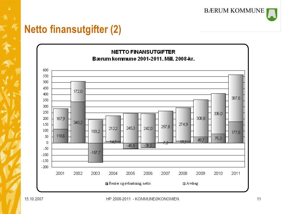 15.10.2007HP 2008-2011 - KOMMUNEØKONOMIEN11 Netto finansutgifter (2)