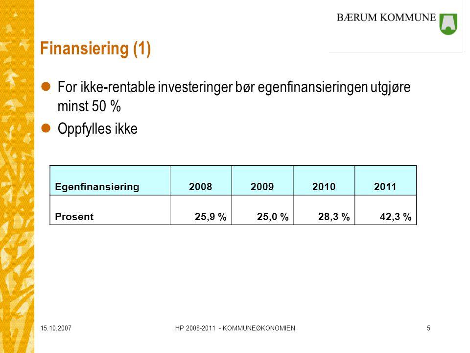 15.10.2007HP 2008-2011 - KOMMUNEØKONOMIEN5 Finansiering (1) lFor ikke-rentable investeringer bør egenfinansieringen utgjøre minst 50 % lOppfylles ikke Egenfinansiering2008200920102011 Prosent25,9 %25,0 %28,3 %42,3 %