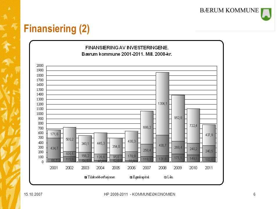 15.10.2007HP 2008-2011 - KOMMUNEØKONOMIEN6 Finansiering (2)